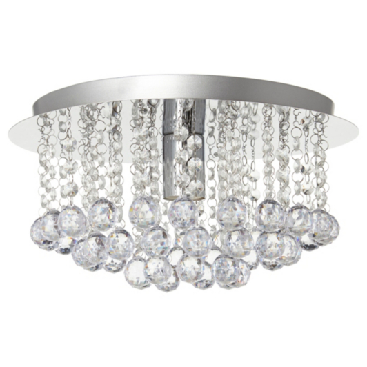 Faux crystal ball ceiling light fitting