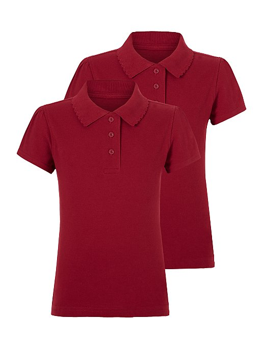 1f790918 Girls Red Scallop School Polo Shirt 2 Pack | School | George