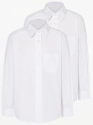 Boys White Long Sleeve School Shirt 2 Pack