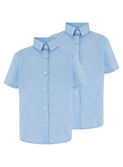Girls light blue school short sleeve shirt 2 pack school for Short sleeve school shirts
