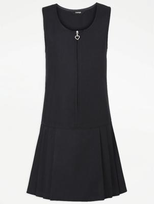 Girls Navy Drop Waist School Pinafore Dress