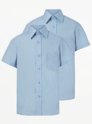 Boys Light Blue Short Sleeve School Shirt 2 Pack