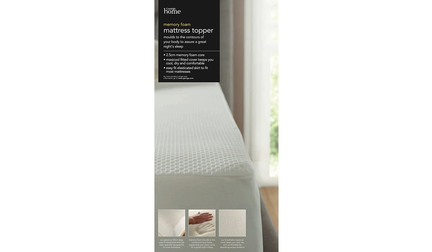 Memory Foam 2 5cm Mattress Topper Sheets Pillowcases George At Asda
