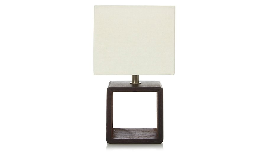 Dark Wood Small Square Lamp