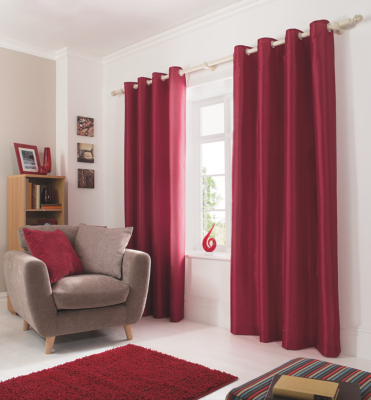 Faux Silk Eyelet Curtains   Red   (W) 66 X (D) 54 Inch