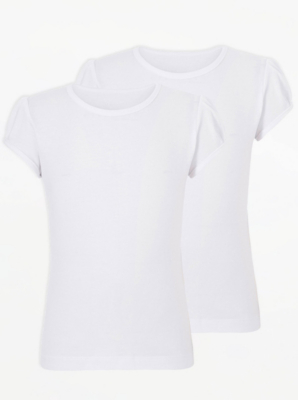Girls White Crew Neck School T-Shirt 2 Pack