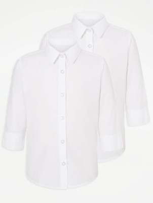Girls White 3/4 Sleeve School Shirt 2 Pack
