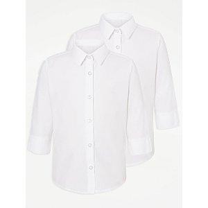 Girls White 3/4 Sleeve School Shirt 2 Pack