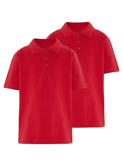 School 2 pack polo shirts red school george at asda for Polo shirts for school