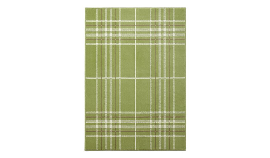 woven check rug cotton white hand gingham green homescapes