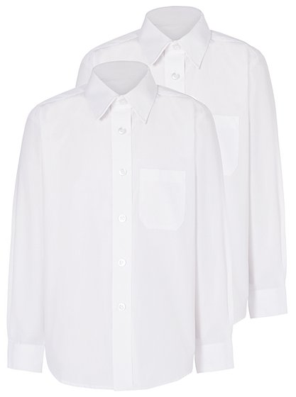 Boys School 2 Pack Long Sleeve Shirts - White | School | George at ...