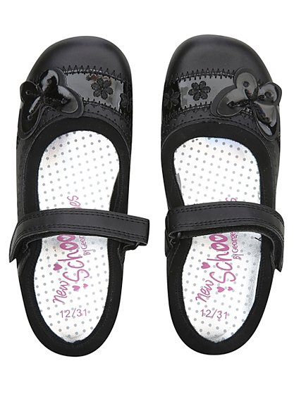 Girls School Patent Erfly Shoes