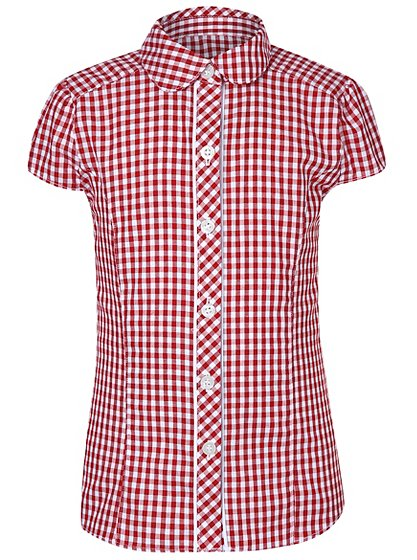 Gingham shirt red school george at asda for Red and white gingham shirt women s