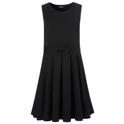 George Girls School Bow Detail Skater Pinafore - Black, Black.