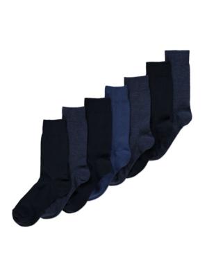 Navy Feel Fresh Socks 7 Pack