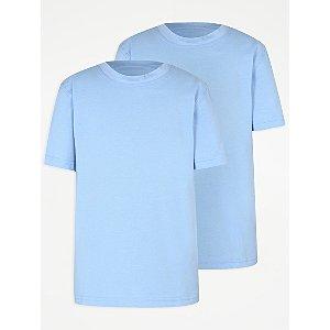 Light Blue Crew Neck School T-Shirt 2 Pack