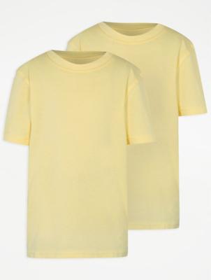 Yellow Crew Neck School T-Shirt 2 Pack