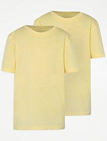 f2c88488bf4046 Yellow Crew Neck School T-Shirt 2 Pack