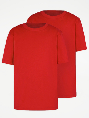 Red Crew Neck School T-Shirt 2 Pack