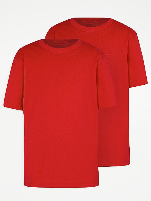 School 2 Pack Crew Neck T-shirts - Red  9444eb947