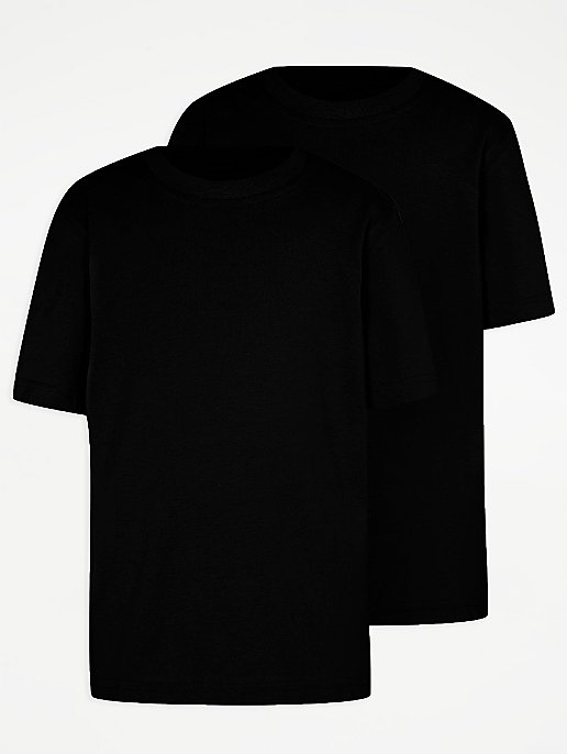 ae092e25e187 Black Crew Neck School T-Shirt 2 Pack   School   George