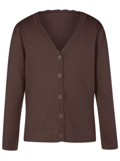Girls Brown School Scallop Trim Cardigan | School | George