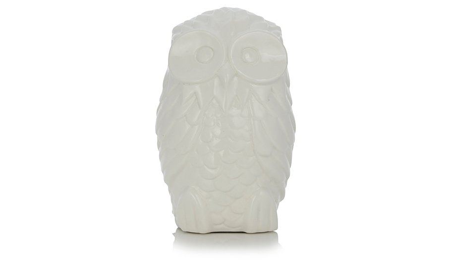 White Ceramic Owl Lamp