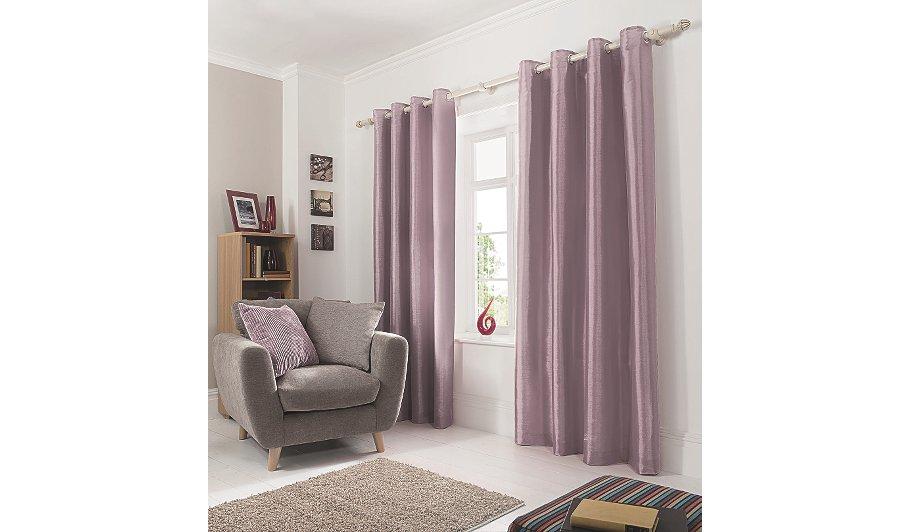 Antique Faux Silk Eyelet Curtains
