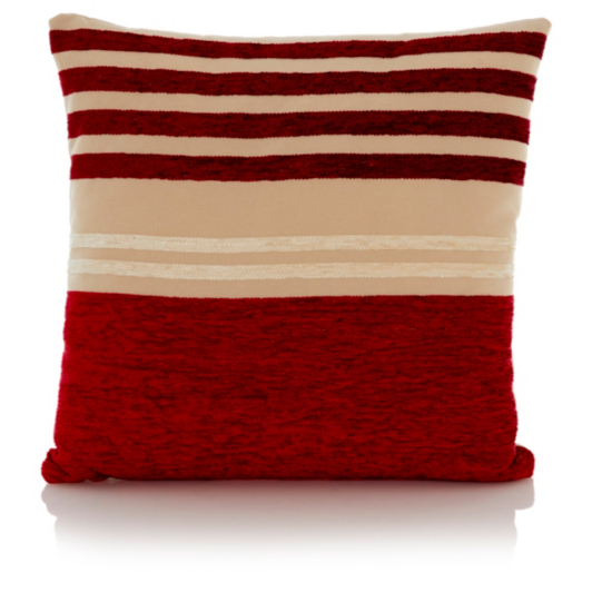 George Home Chenille Stripe Cushion 40x40cm - Red   Home ...