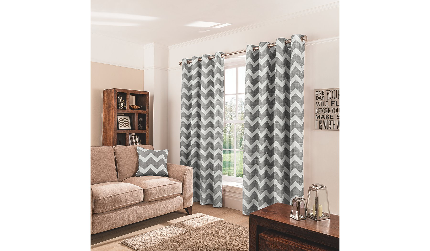 Charcoal Chevron Eyelet Curtains