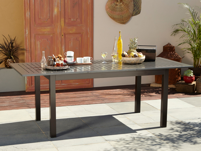 Garden Furniture Jakarta jakarta extending dining table - charcoal & brown | garden
