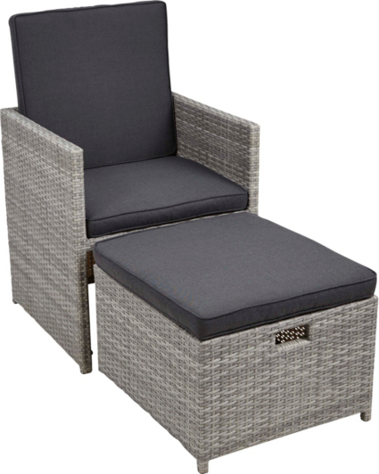 Borneo Garden Furniture Asda borneo cube patio dining chair & ottoman | garden furniture