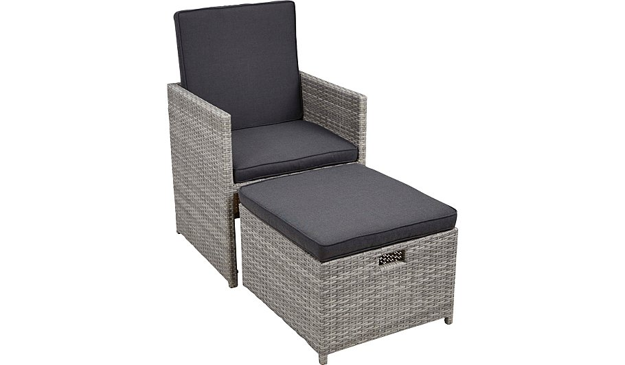 Borneo Cube Patio Dining Chair Ottoman Garden Furniture