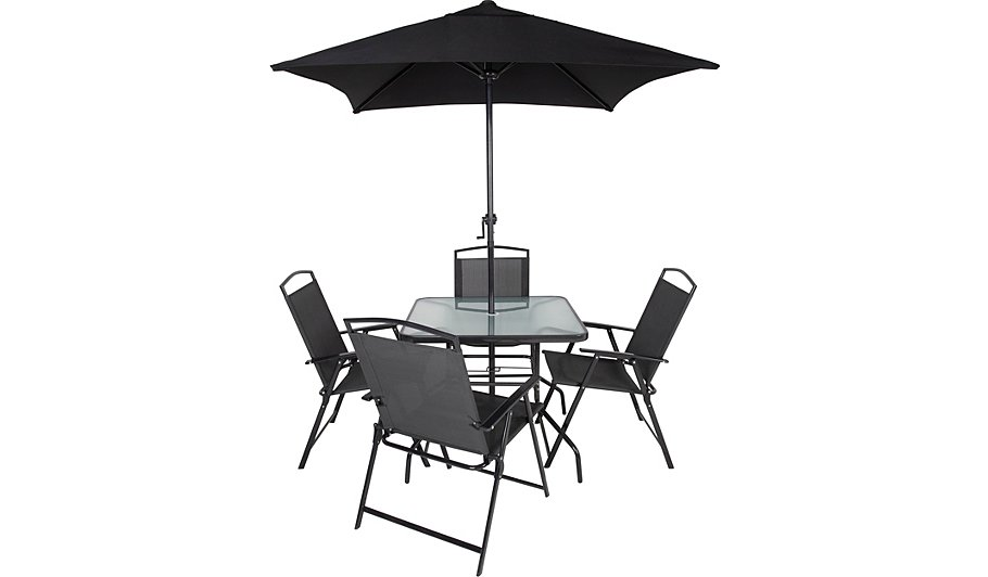 Miami 6 Piece Patio Set - Charcoal - Miami 6 Piece Bistro - Charcoal Home & Garden George At ASDA