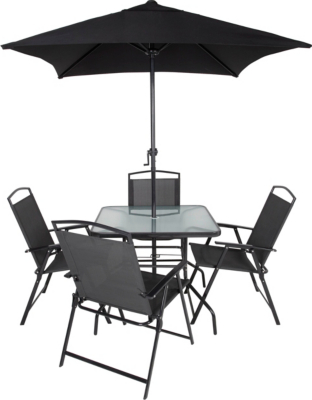 Miami 6 Piece Patio Set   Charcoal