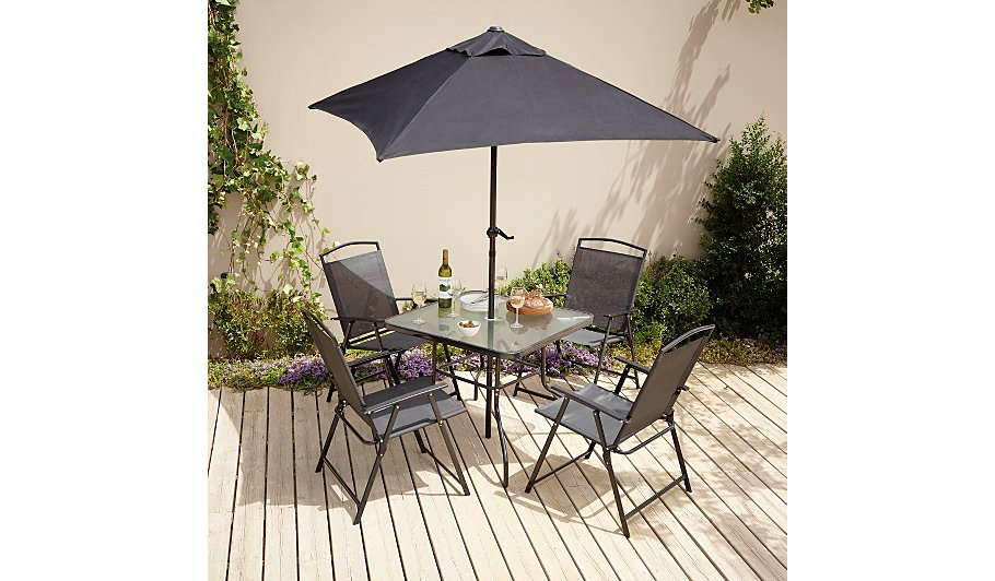 miami 6 piece patio set charcoal - Garden Furniture 6
