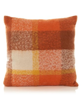 Orange Check Cushion 43x43cm