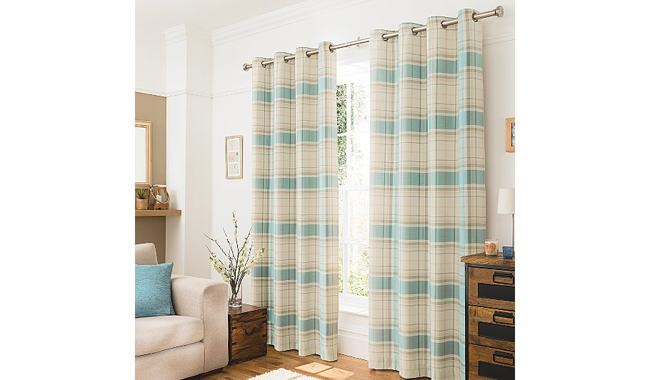 Duck Egg Blue Woven Check Curtains