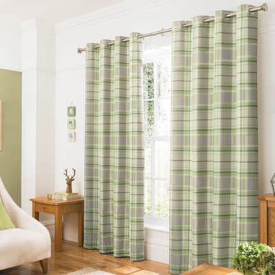 Attractive Woven Check Curtains   Green