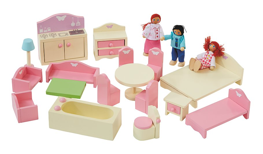 George home wooden doll house furniture set kids george at asda Dolls wooden furniture