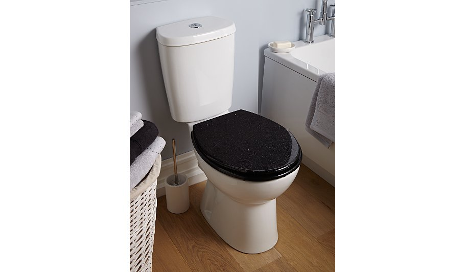 george home glitter toilet seat black home garden. Black Bedroom Furniture Sets. Home Design Ideas