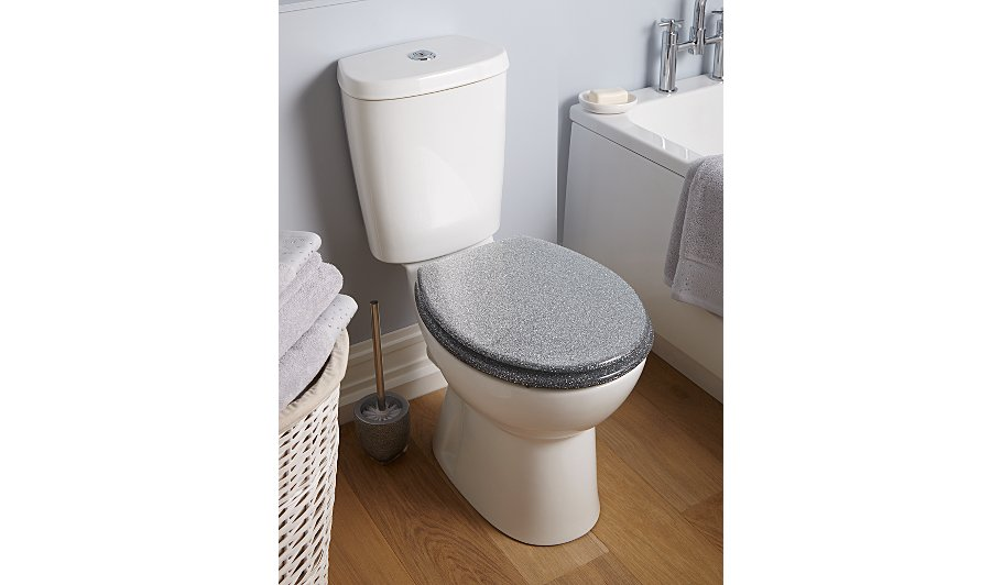 Glitter toilet seat silver bathroom accessories for Blue and silver bathroom sets