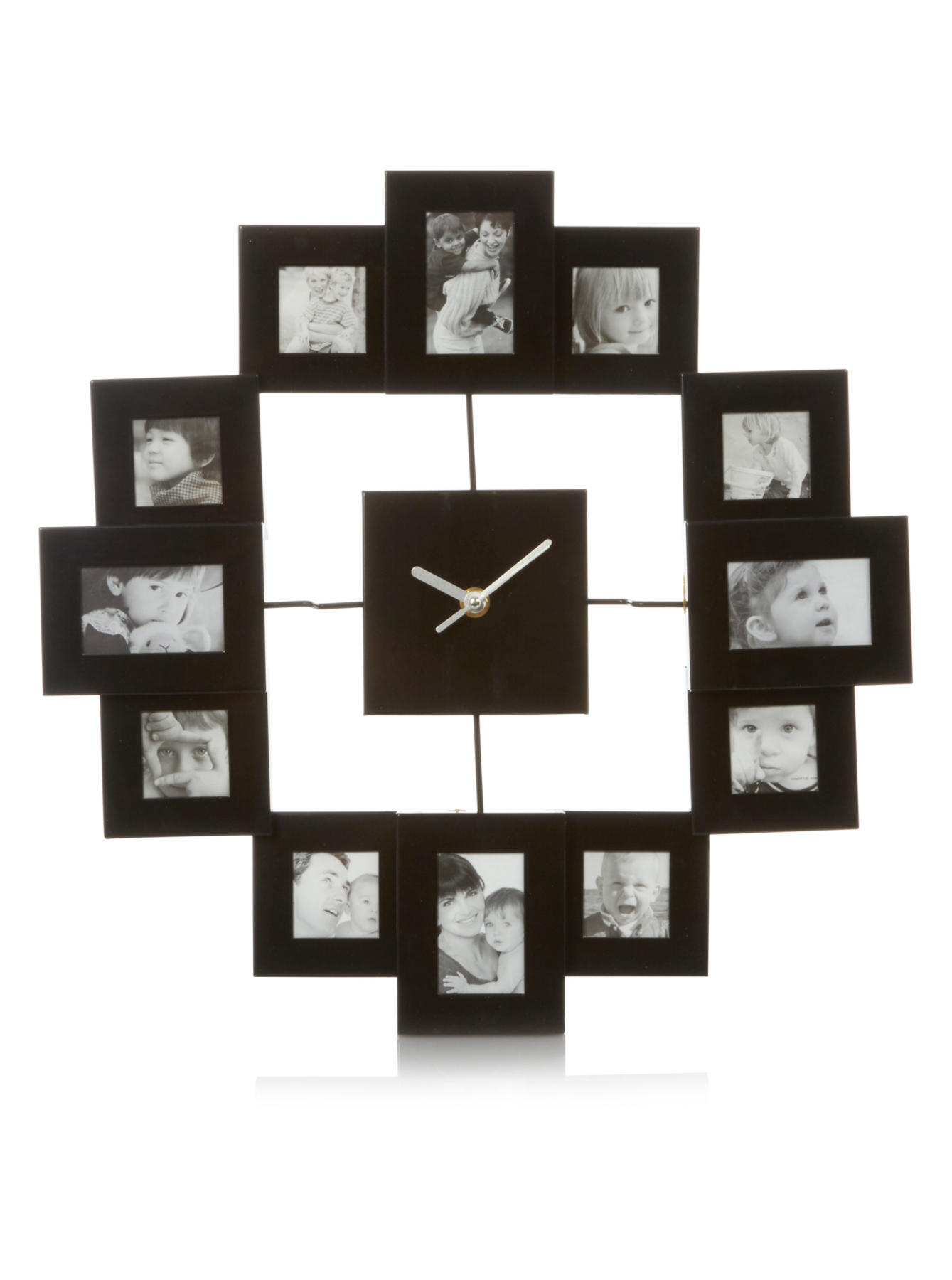 Black Square Photo Frame Clock Clocks George At Asda