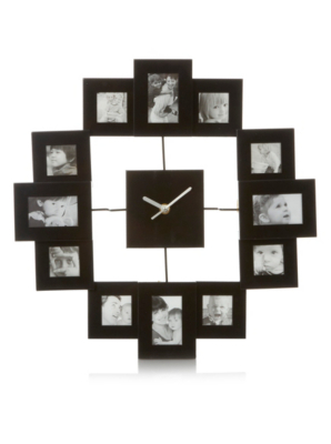 Black Square Photo Frame Clock