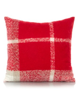 George Home Red Faux Mohair Woven Check Cushion 43x43cm