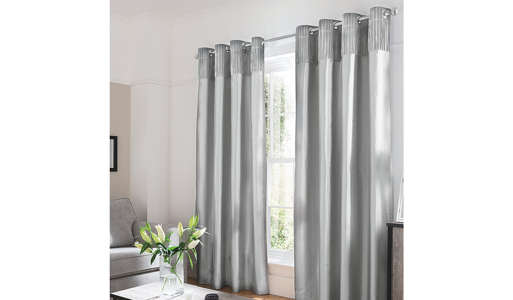 Silver Faux Silk Curtains With Velvet Header
