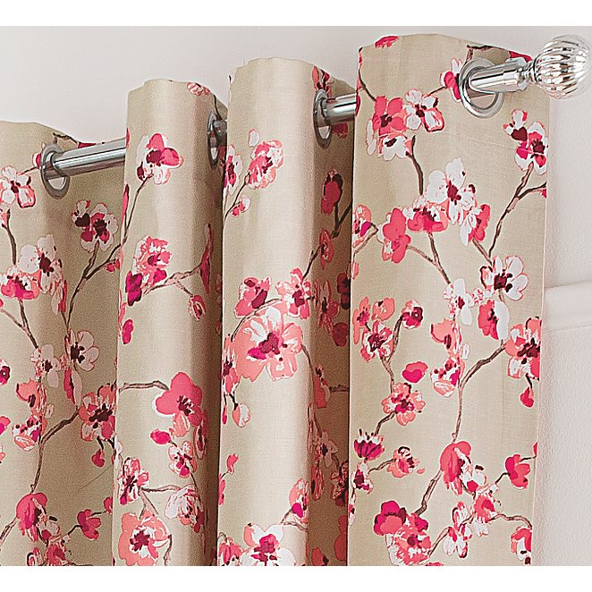 Floral Curtains With Contrast Edge Pink Home Garden George