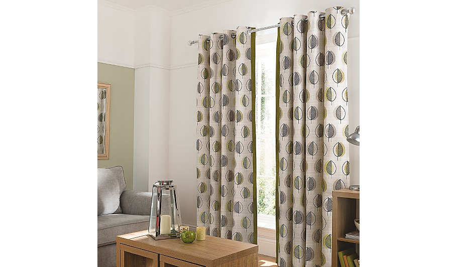 Green leaf design curtains with contrast edge home for Household design 135 curtain road