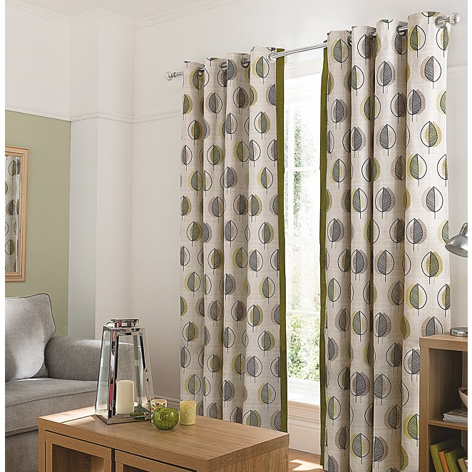 Green Leaf Design Curtains With Contrast Edge