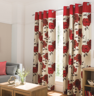 Nice Red Floral Curtains